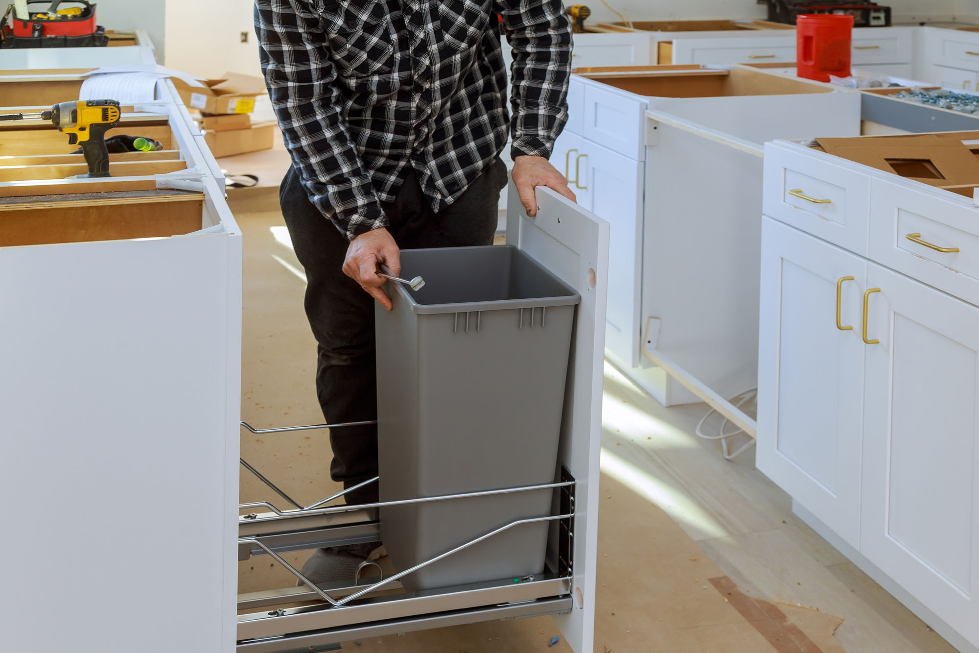 Einbau Abfallsammler Wesco 19x19,19 Liter Auszugs-Mülleimer